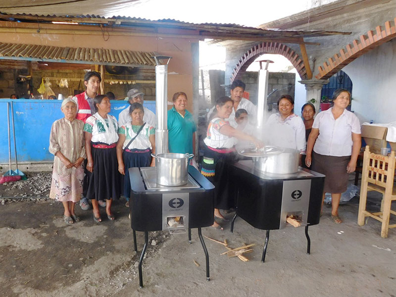 Familes affected by Tropcial Storm Earl and thier donated Envirofit cookstoves