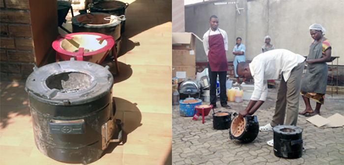 Lubumbashi DRC residents look at Envirofit cookstove