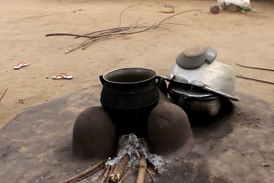 A three stone fire used for cooking in Akorlikokpe, Ghana